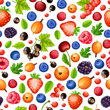 Colorful ripe forest berries seamless pattern with green leaves in cartoon style on white background vector illustration
