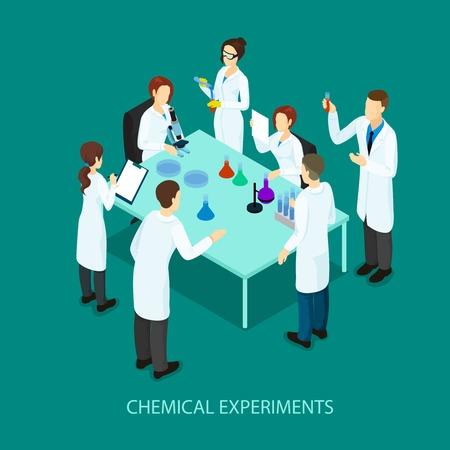 investigando: Plantilla de Investigación Química Isométrica Vectores