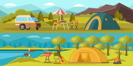 Colorful Camping Horizontal Banners Illustration