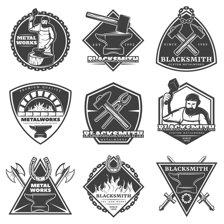 Monochrome Vintage Blacksmith Labels Set Ilustração