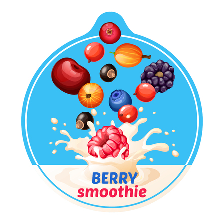 Cartoon berry smoothie sticker with rapsberry gooseberry bilberry cherry blackberry cranberry cowberry currant falling in milk splashes vector illustration