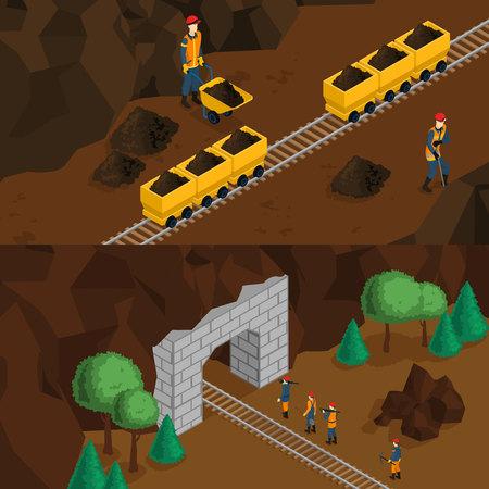 Isometric Miners Horizontal Banners