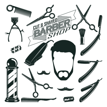 barbershop: Vintage Barbershop Elements Collection Illustration
