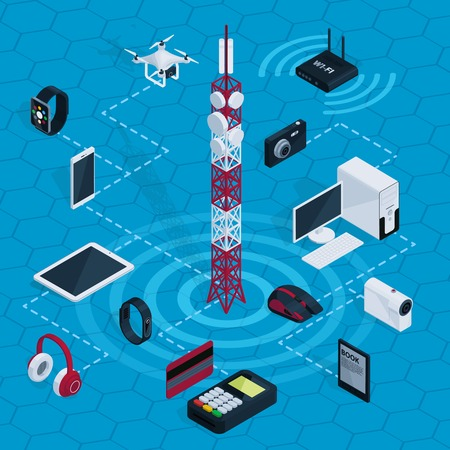 Isometric internet technology concept with radio tower electronic devices and gadgets on blue hexagonal grid isolated vector illustration