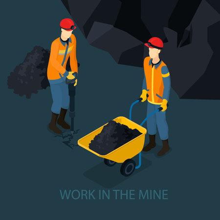 Isometric Mine Industry Concept Illustration