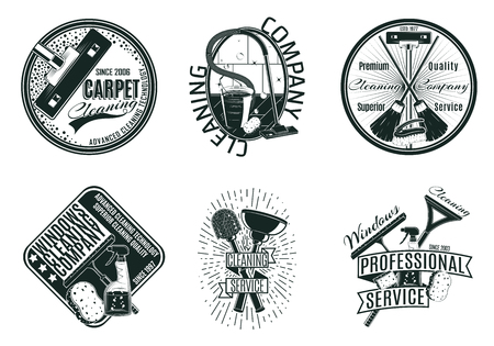 Monochrome Cleaning Company Logos Set