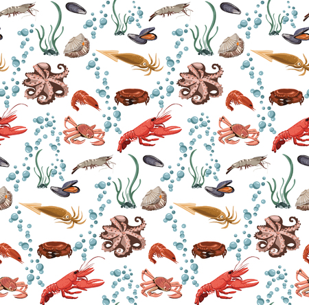 green crab: Sea and ocean animals seamless pattern with marine creatures green seaweeds and water bubbles vector illustration