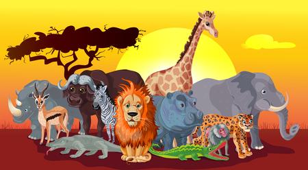 Cartoon Afrikaanse Fauna Sjabloon