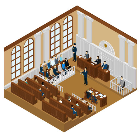 Isometric Judicial System Concept Ilustrace