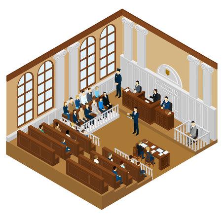 Isometric Judicial System Concept Illustration