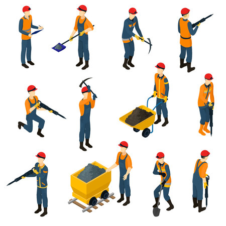 Isometric Miners Set 免版税图像 - 128174057