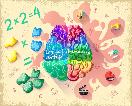 Cartoon Creative Cerebral Thinking Template Illustration