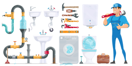 Plumbing Elements Collection Illustration