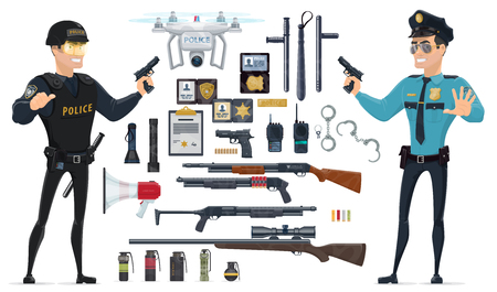 Police Elements Collection Stock Vector - 76346415