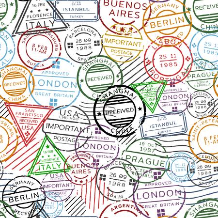 レトロな郵便のシームレス パターン