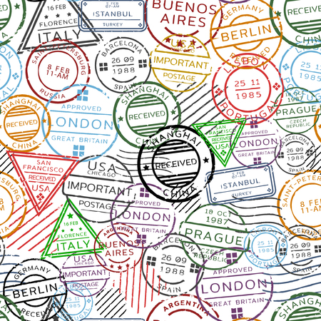 Retro Postal Seamless Pattern Illustration