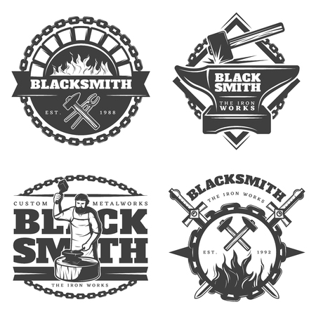 Monochrome vintage blacksmith emblems set with working master sledgehammer fire metal chain and equipment isolated vector illustration Banco de Imagens - 76354298