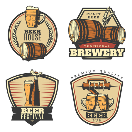 Colorful vintage brewing emblems set with beer mug glass bottle tap wheat wooden barrel isolated vector illustration