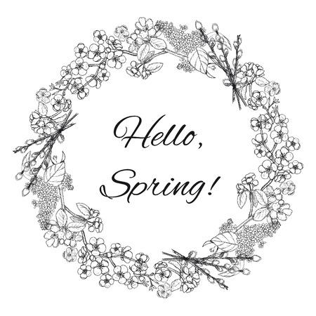 Hand getrokken lente bloemen krans sjabloon