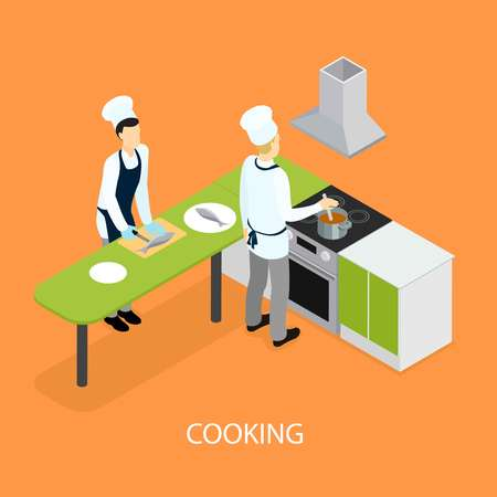 helper: Isometric Restaurant People Cooking Template