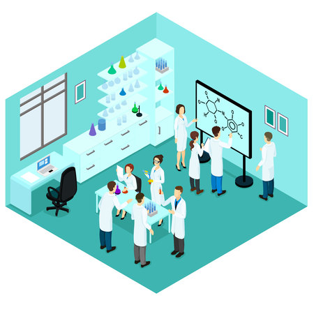 laboratory equipment: Isometric Biological Science Laboratory Template Illustration