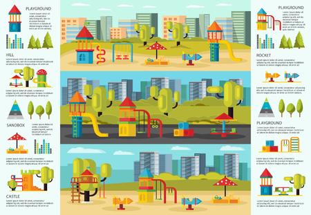 Kleurrijke speelplaats Infographic Concept