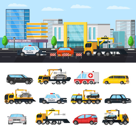 auto service: Car evacuation elements concept with tow trucks in different situations police ambulance and  city transport isolated vector illustration