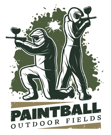 Vintage paintball club template with aiming players in uniform and mask holding weapons vector illustration