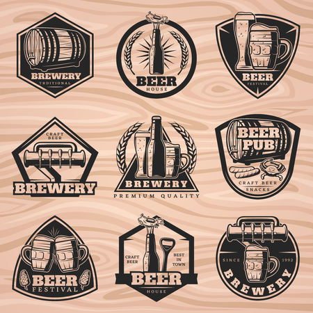 Black brewery labels set with beer elements in vintage style on wooden background isolated vector illustration Ilustrace