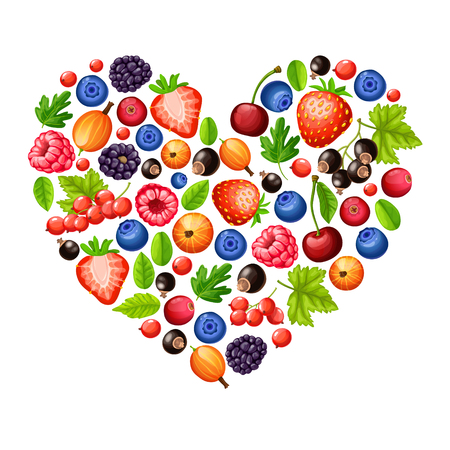 Cartoon fresh healthy forest berries concept in shape of heart on white background vector illustration