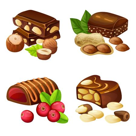 Dark and milk chocolate candies set with cranberry hazelnuts peanuts brazil nuts in cartoon style isolated vector illustration