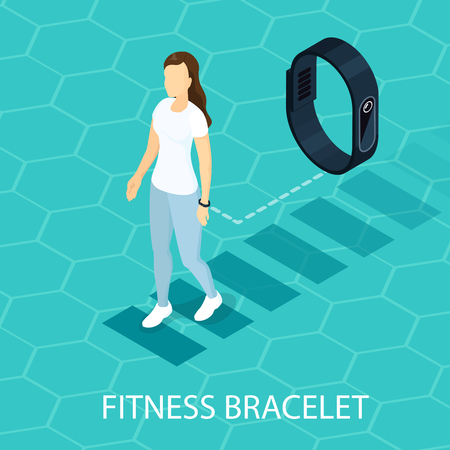 Isometric electronic gadget concept with walking woman wearing portable fitness bracelet on light hexagonal grid vector illustration