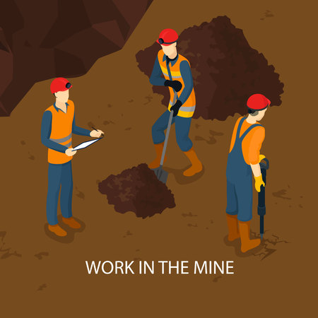 People in mine isometric template with working miners in uniform and holding manual labor tools vector illustration