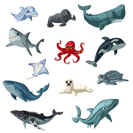 カラフルな水中動物海と分離された海の生物と設定を漫画ベクトル イラスト