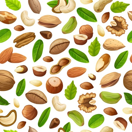 Cartoon natural food seamless pattern with different sorts of nuts and green leaves vector illustration