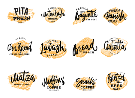 Pastry and bread logotypes set with hand drawn bakery products of different national cuisines isolated vector illustration