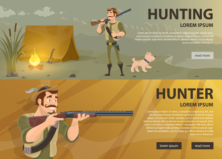 Hunting horizontal banners with hunter and dog standing near tent and aiming smiling huntsman vector illustration