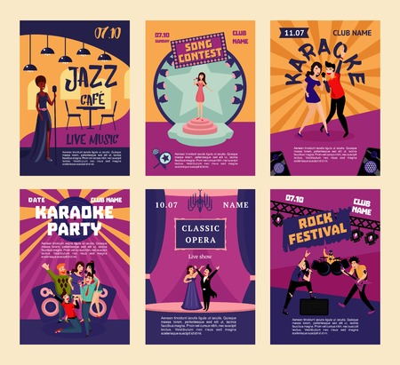 Music entertainment and karaoke posters with people singing in various musical styles at different places and events vector illustration Illustration
