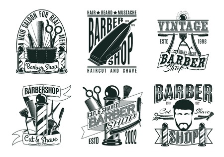 Monochrome vintage barber shop logos set with  inscriptions haircut equipment tools and accessories isolated vector illustration