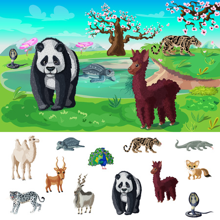 Cartoon Asian Wildlife Concept Illustration