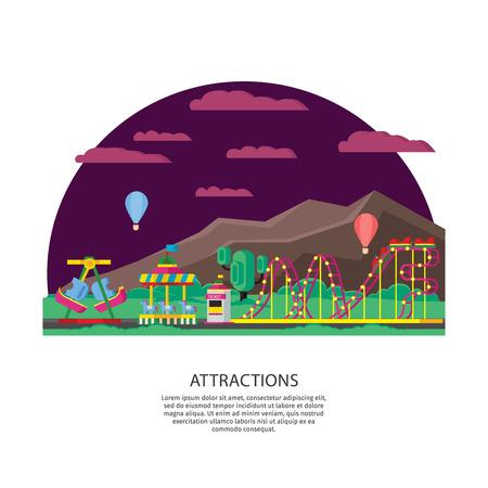Amusement Park Or Funfair Concept Illustration