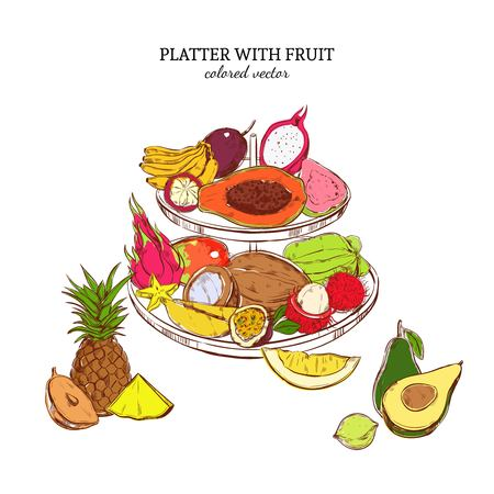 Hand Drawn Exotic Fruits Template Illustration