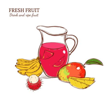 Sketch Colored Fresh Drink Concept Ilustrace