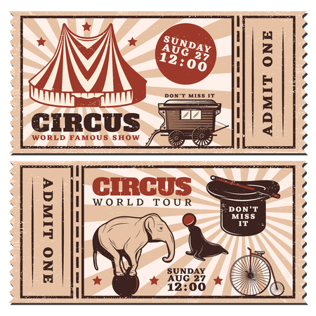 stage costume: Vintage Circus Show Advertising Horizontal Tickets