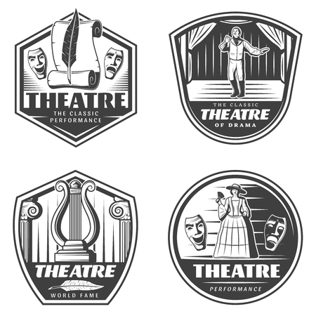 Vintage Classic Theatre Emblems Set Foto de archivo - 76538813