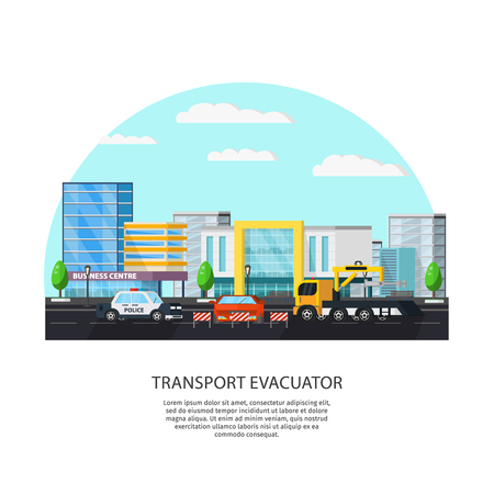 auto service: Colorful Transport Evacuator Concept Illustration