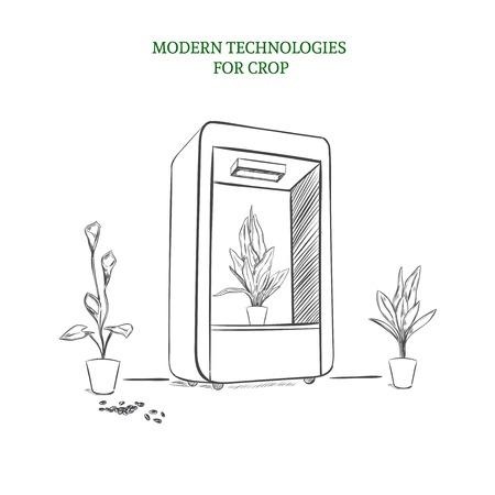Sketch Modern Botanical Technology Concept Ilustração