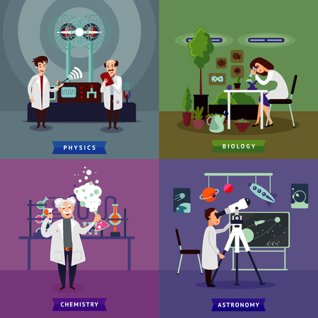 Flat Scientific Research Square Concept Illustration
