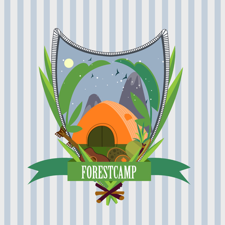 rucksack: Flat Forest Camp Label Template