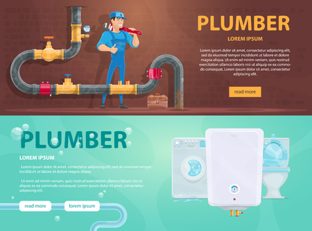 Colorful plumbing horizontal banners with plumber repairing clogging pipe washing machine water heater and toilet vector illustration